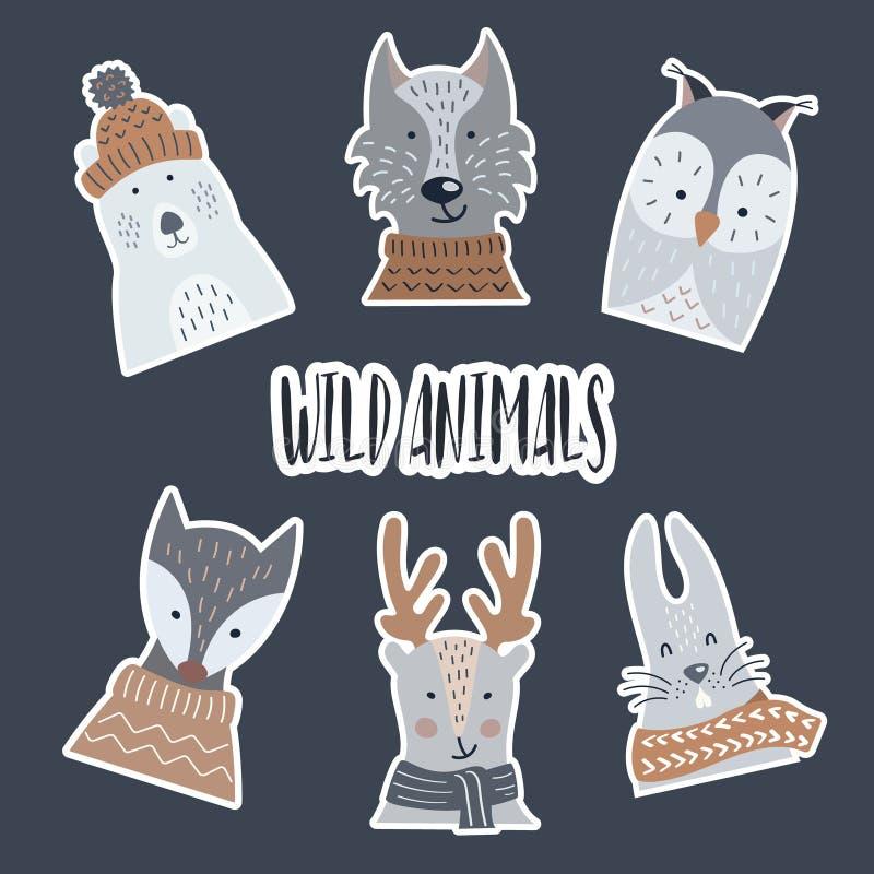 Autoadesivi fatti di carta con un'ombra degli animali della foresta e selvaggi illustrazione vettoriale