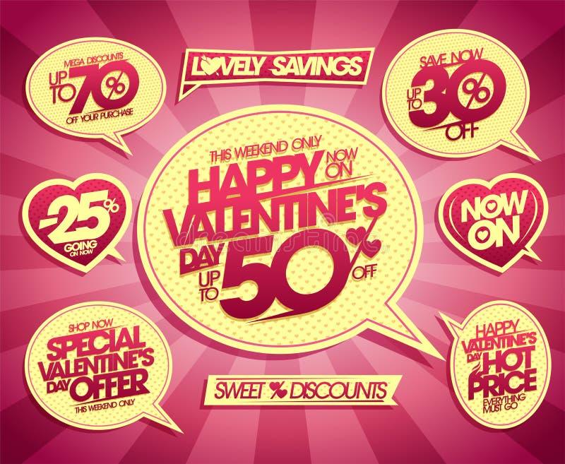 Autoadesivi insieme, offerte di festa, offerta speciale, sconti mega, prezzo caldo, risparmi di vendita di San Valentino ora, ris illustrazione di stock