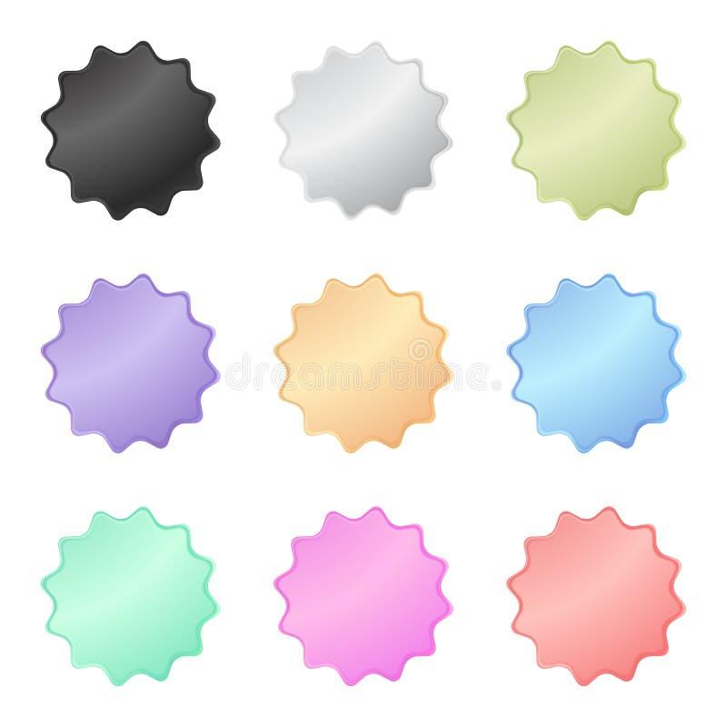 Autoadesivi lucidi multicolori di vettore sotto forma di un cerchio con il metallo di colore pastello dei denti illustrazione di stock