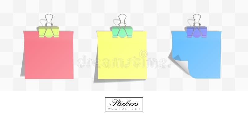 Autoadesivi realistici della carta quadrata con i bordi rotolati illustrazione di stock