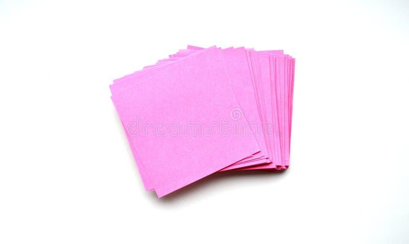 autoadesivi rosa della carta dell'ufficio immagini stock