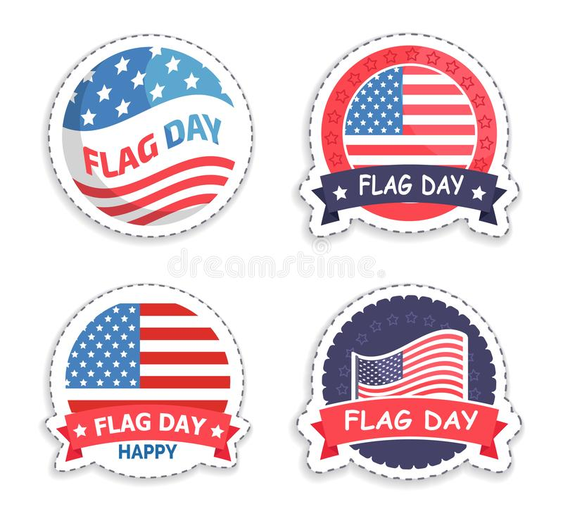 Autoadesivi rotondi promozionali di giorno di bandiera americana messi illustrazione di stock