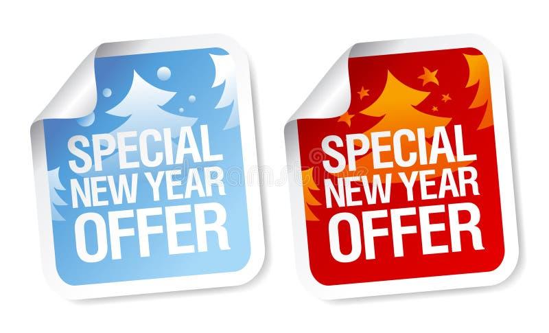 Autoadesivi speciali di offerta del nuovo anno illustrazione vettoriale