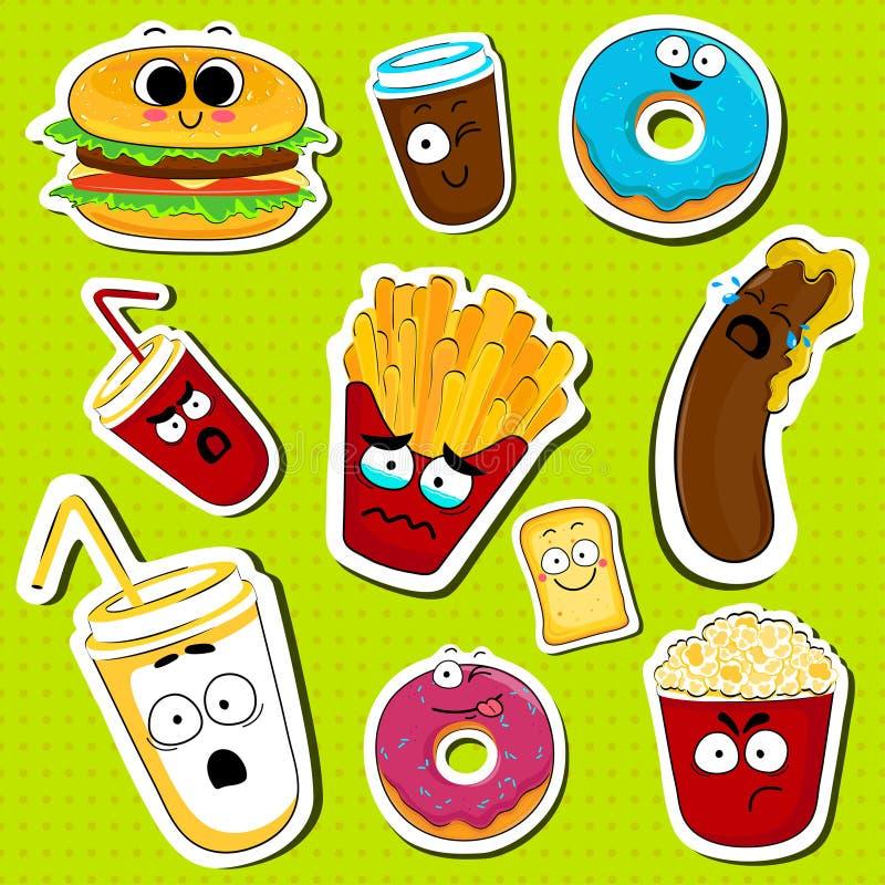 Autoadesivi svegli del fronte del carattere degli alimenti a rapida preparazione del fumetto illustrazione vettoriale