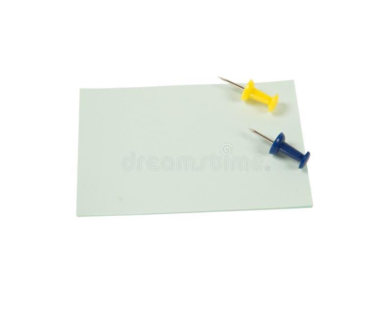 Autoadesivi vuoti con gli a pressione isolati su fondo bianco fotografia stock