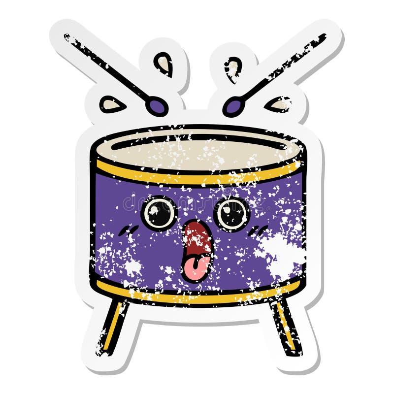 autoadesivo afflitto di un tamburo sveglio del fumetto illustrazione di stock