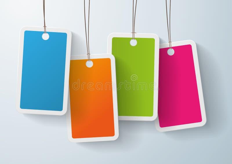 Autoadesivo colorato quattro di prezzi illustrazione vettoriale