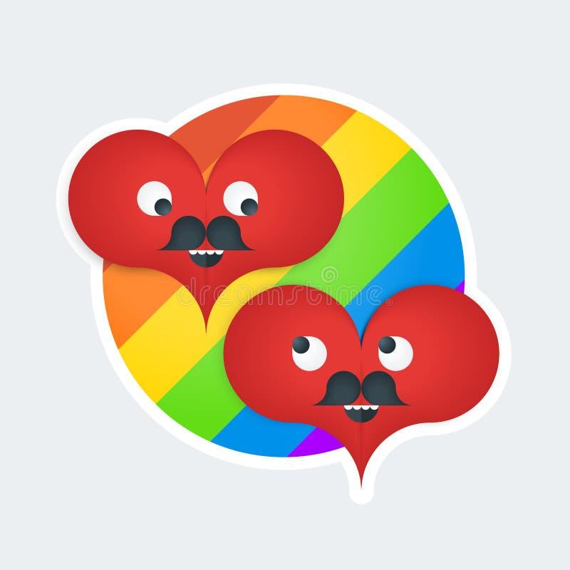 Autoadesivo con due cuori gay illustrazione di stock