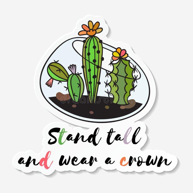 Autoadesivo con il cactus sveglio divertente colorato illustrazione di stock