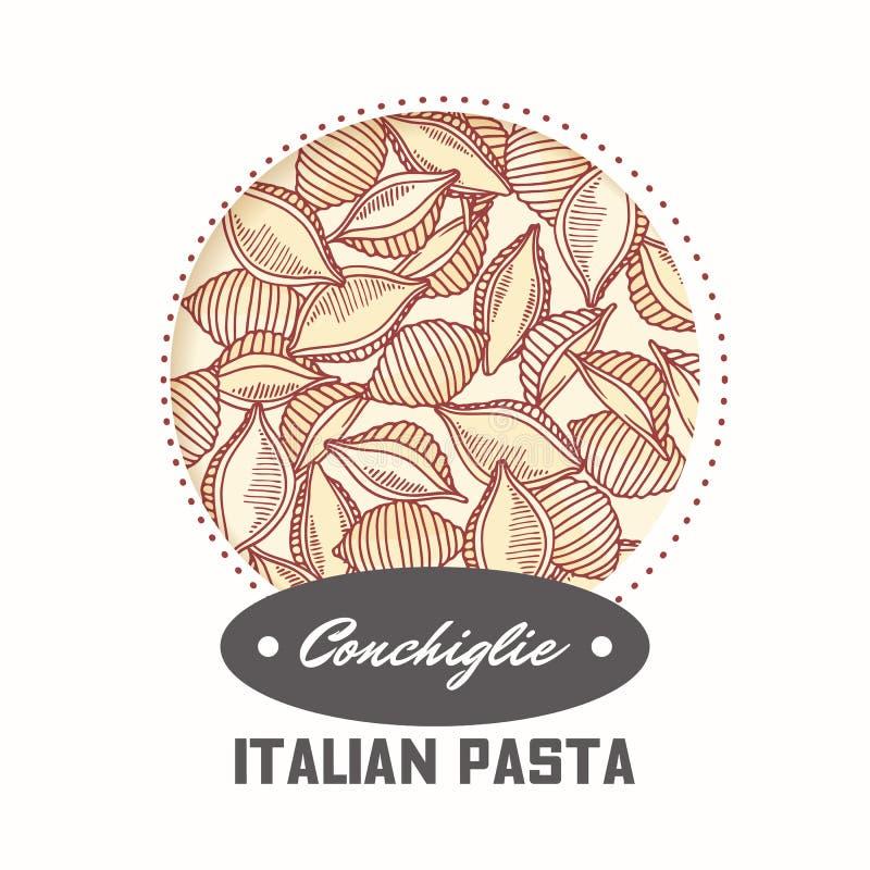 Autoadesivo con il conchiglie disegnato a mano della pasta isolato su bianco Modello per progettazione di pacchetto dell'alimento illustrazione di stock