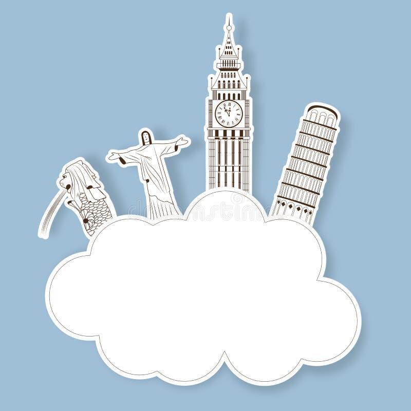 Autoadesivo con il monumento di fama mondiale royalty illustrazione gratis