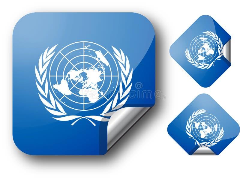 Autoadesivo con la bandierina dell'ONU illustrazione di stock