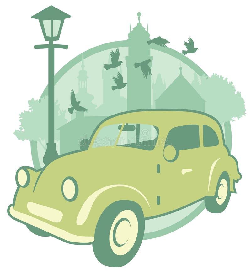Autoadesivo d'annata con un'automobile fotografia stock libera da diritti
