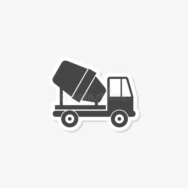 Autoadesivo del camion della betoniera segno piano riempito per il concetto ed il web design mobili illustrazione di stock