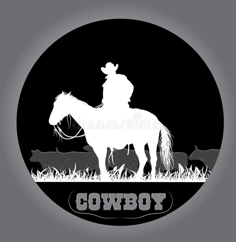 Autoadesivo del cowboy illustrazione di stock