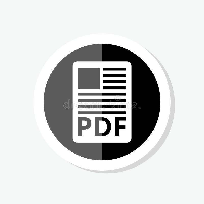Autoadesivo del documento di file pdf Bottone di pdf di download Simbolo di file pdf illustrazione di stock
