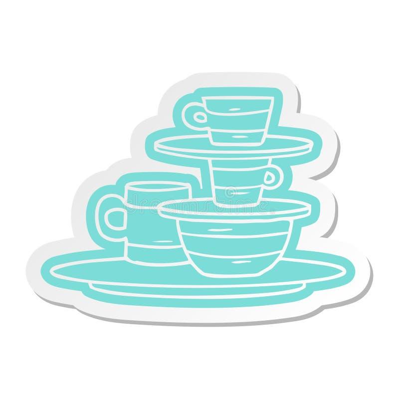 autoadesivo del fumetto delle ciotole e dei piatti colourful illustrazione di stock
