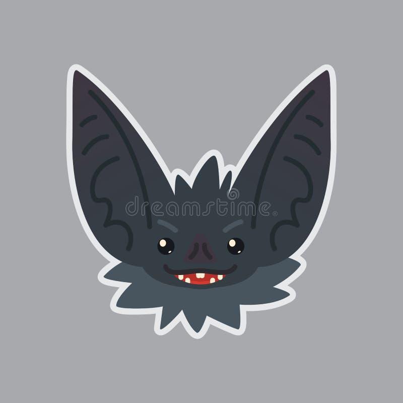 Autoadesivo del pipistrello Emoji Illustrazione di vettore di Halloween sveglio illustrazione vettoriale