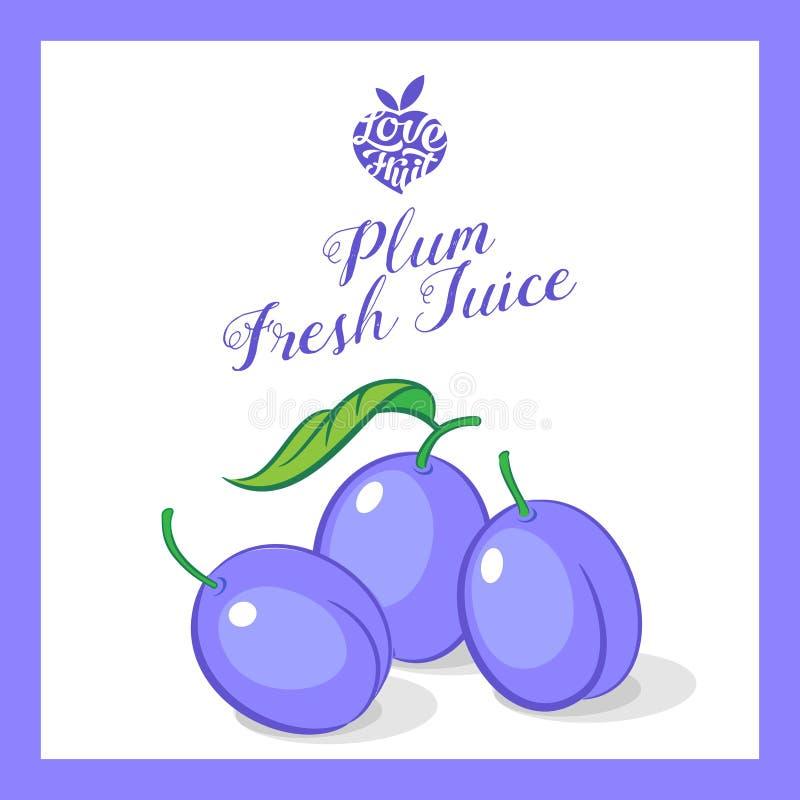 Autoadesivo del succo della prugna Frutta organica Prugne viola con la firma nel telaio illustrazione vettoriale