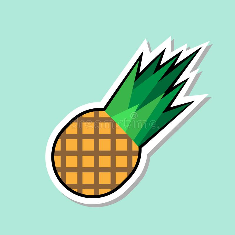 Autoadesivo dell'ananas sull'icona variopinta della frutta del fondo blu illustrazione vettoriale