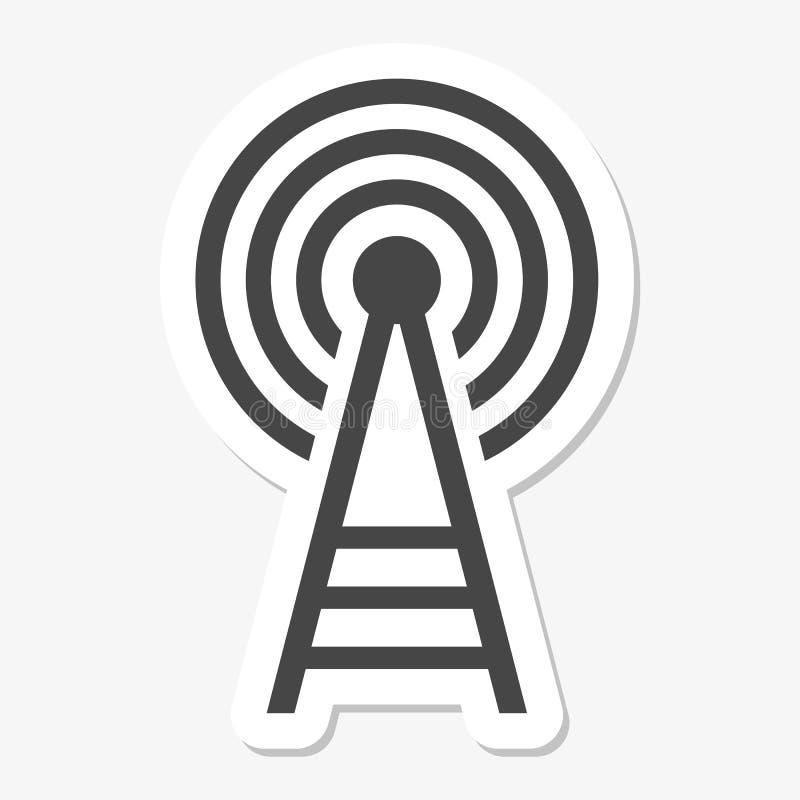 Autoadesivo dell'icona della torre del trasmettitore illustrazione di stock