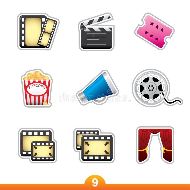 Autoadesivo dell'icona impostato - film e pellicola illustrazione vettoriale