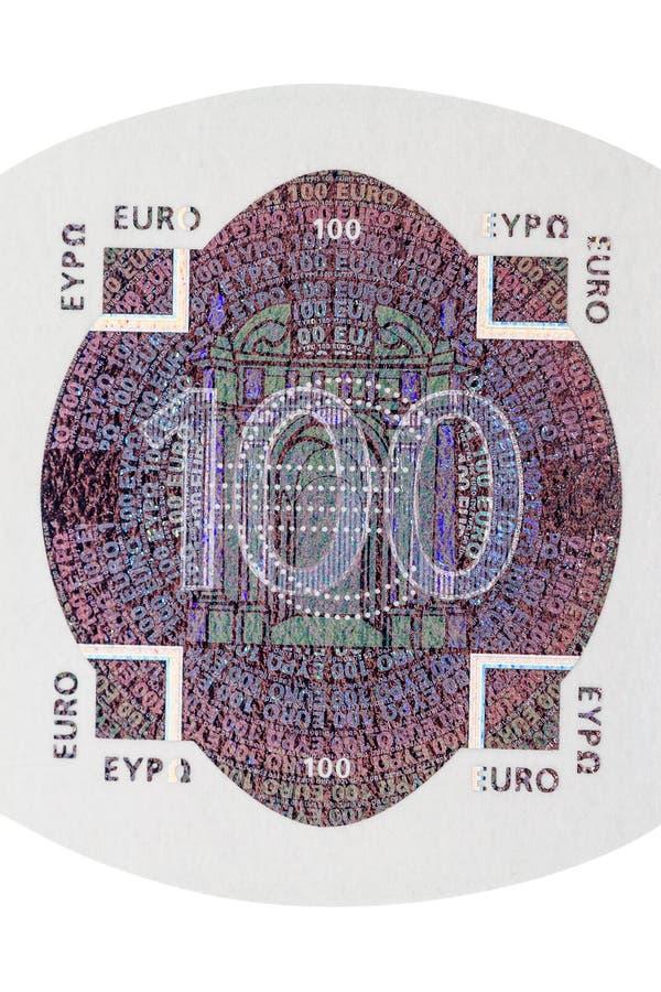 Cento ologrammi della nota dell'euro immagine stock libera da diritti