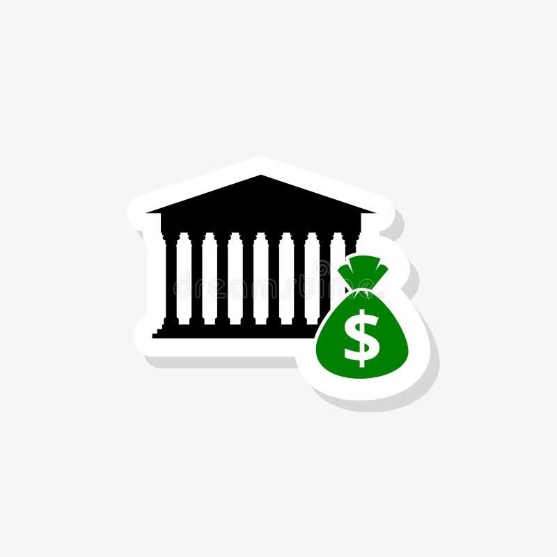 Autoadesivo della costruzione della Banca isolato su fondo bianco Segno semplice dell'icona della costruzione della Banca illustrazione di stock