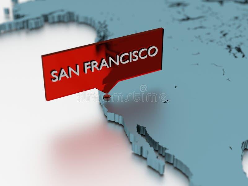 autoadesivo della mappa di mondo 3d - città di San Francisco illustrazione di stock