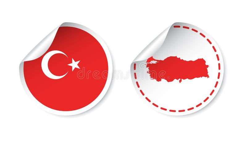 Autoadesivo della Turchia con la bandiera e la mappa Etichetta, etichetta rotonda con paese illustrazione di stock
