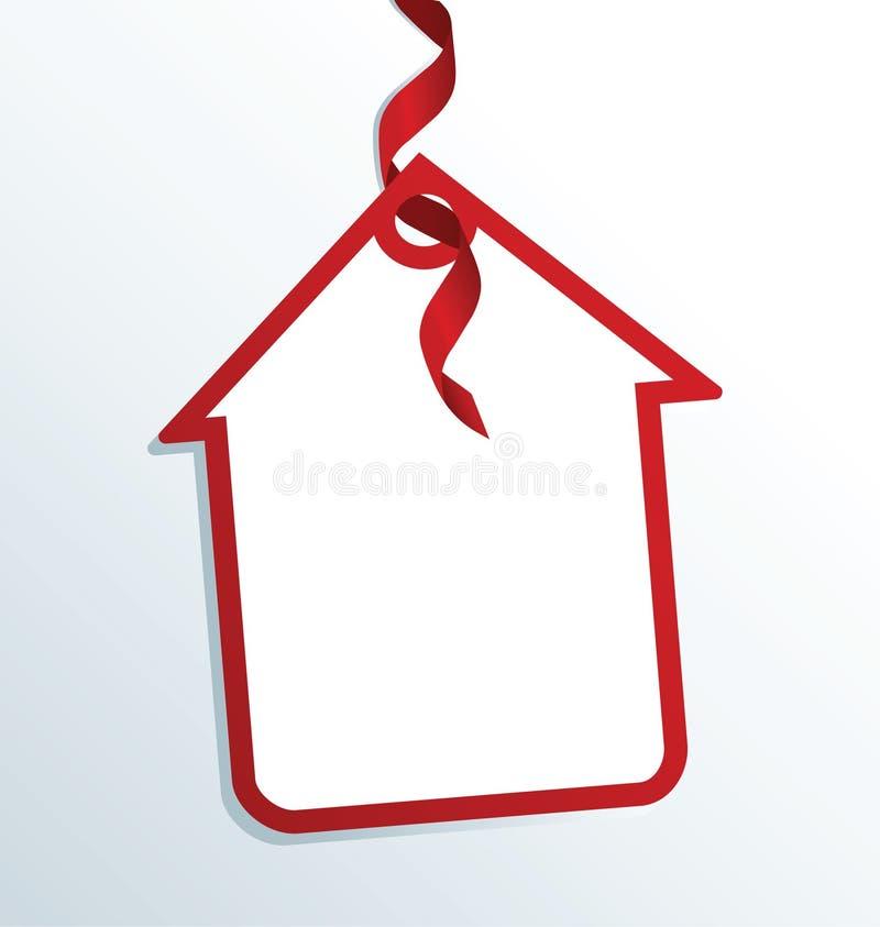 Autoadesivo di carta della casa con l'arco rosso sui precedenti grigi royalty illustrazione gratis
