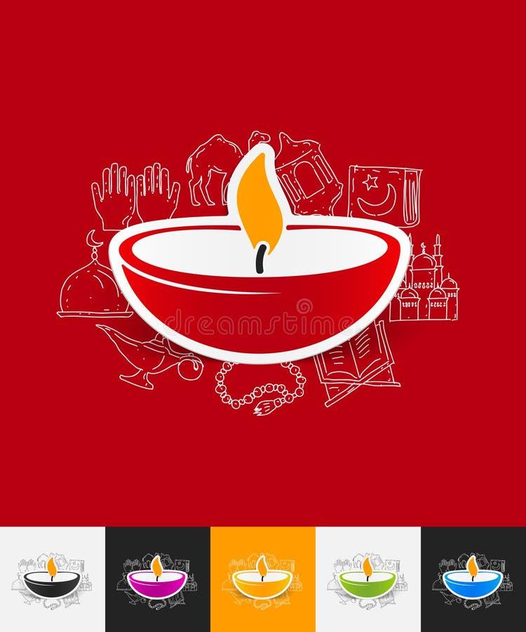 Autoadesivo di carta della lampada con gli elementi disegnati a mano illustrazione vettoriale