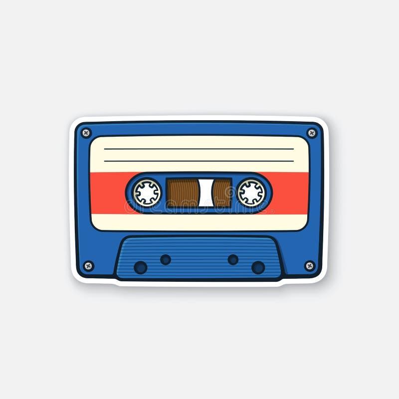 Autoadesivo di retro audio cassetta illustrazione vettoriale