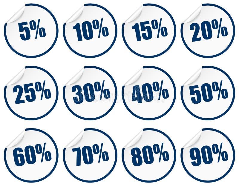 Autoadesivo di sconto - blu illustrazione di stock