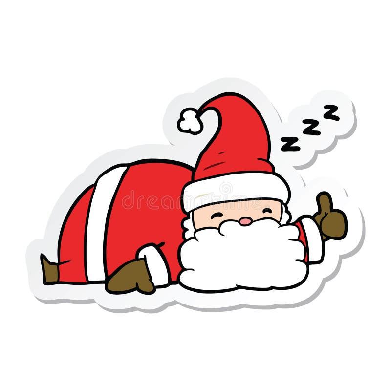 autoadesivo di un fumetto Santa sonnolenta illustrazione di stock
