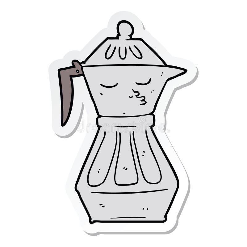 autoadesivo di una caffettiera del fumetto illustrazione vettoriale