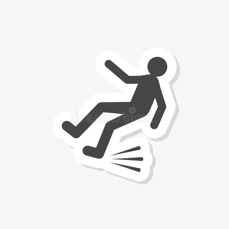 Autoadesivo di una persona di caduta Segnale di pericolo del pavimento bagnato Strada sdrucciolevole royalty illustrazione gratis