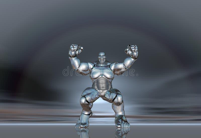autoadesivo eccellente del manifesto di stile di vita dell'uomo del robot 3D illustrazione di stock
