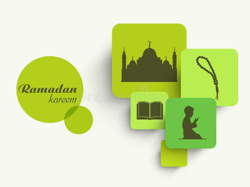 Autoadesivo, etichetta o etichetta con gli elementi islamici per la celebrazione di Ramadan Kareem illustrazione vettoriale