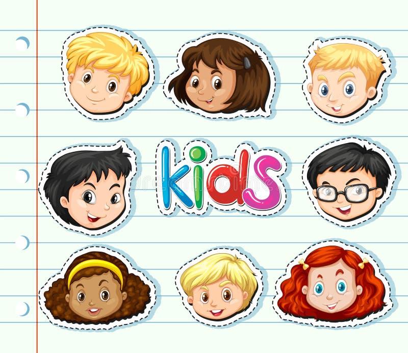 Autoadesivo messo con i fronti dei bambini royalty illustrazione gratis