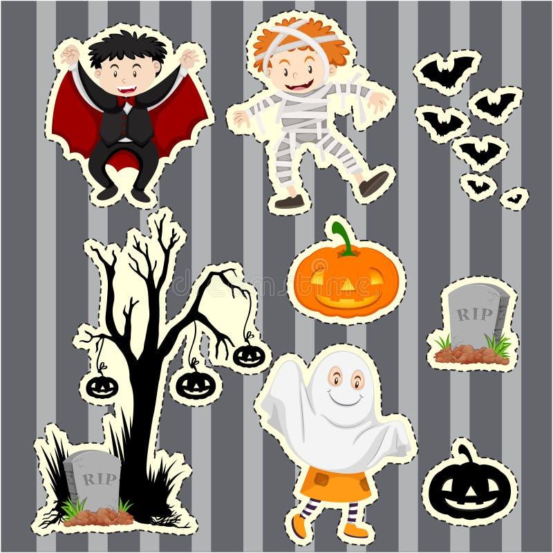 Autoadesivo messo per i bambini in costumi di Halloween illustrazione vettoriale