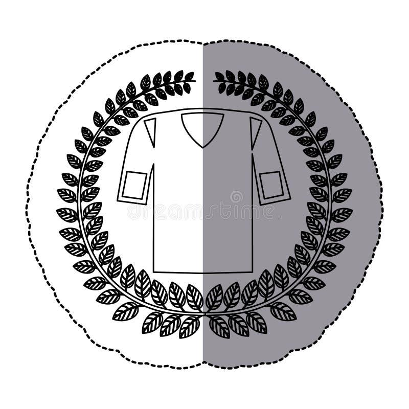 autoadesivo monocromatico dell'ombra media con la corona verde oliva con l'uniforme di football americano della camicia illustrazione vettoriale