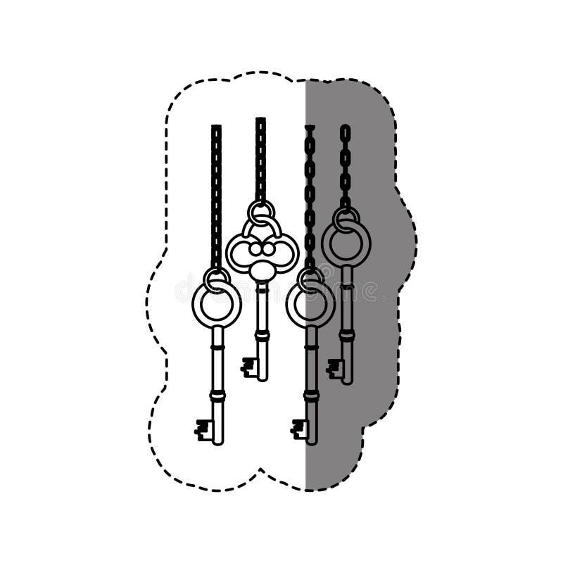 autoadesivo monocromatico di contorno con il modello con le chiavi d'annata che appendono sulle catene royalty illustrazione gratis