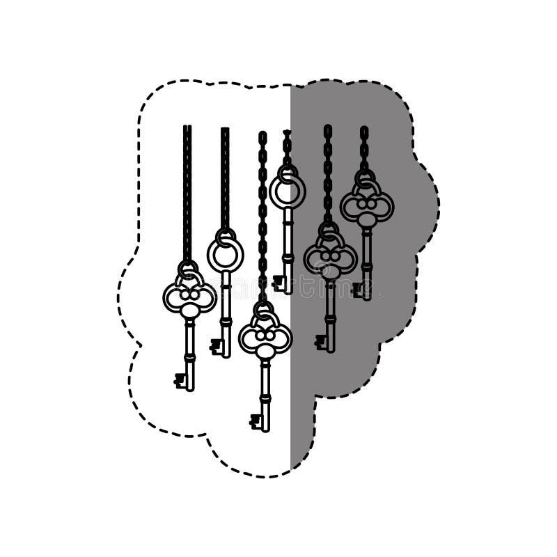 autoadesivo monocromatico di contorno con le chiavi d'annata che appendono sulle catene illustrazione vettoriale