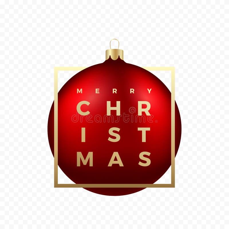 Autoadesivo o insegna di saluti di Natale Palla rossa su fondo trasparente con tipografia moderna dorata nel telaio illustrazione vettoriale