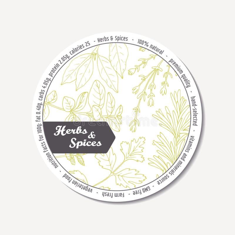 Autoadesivo per progettazione di pacchetto con le erbe piccanti disegnate a mano Modello dell'etichetta illustrazione vettoriale