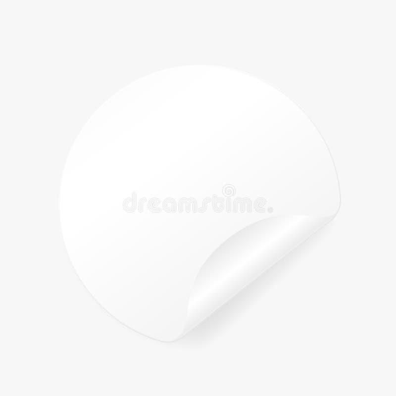 Autoadesivo rotondo bianco bandiera Documento arricciato illustrazione vettoriale