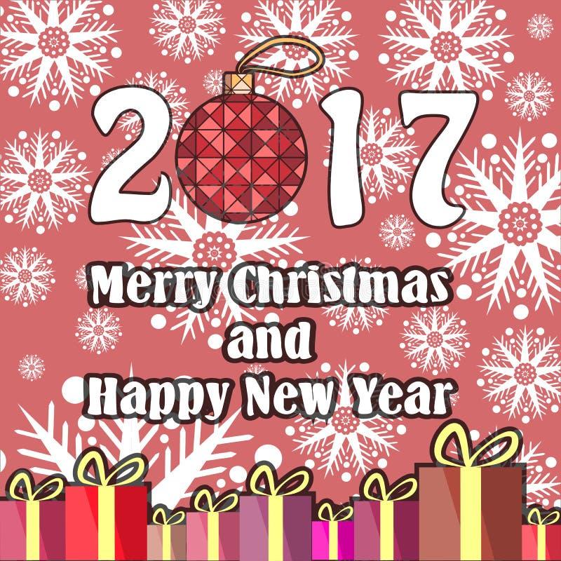 Autoadesivo rotondo di vettore per le feste in uno stile piano Albero di Natale, scatole con i regali ed iscrizione della mano de illustrazione vettoriale