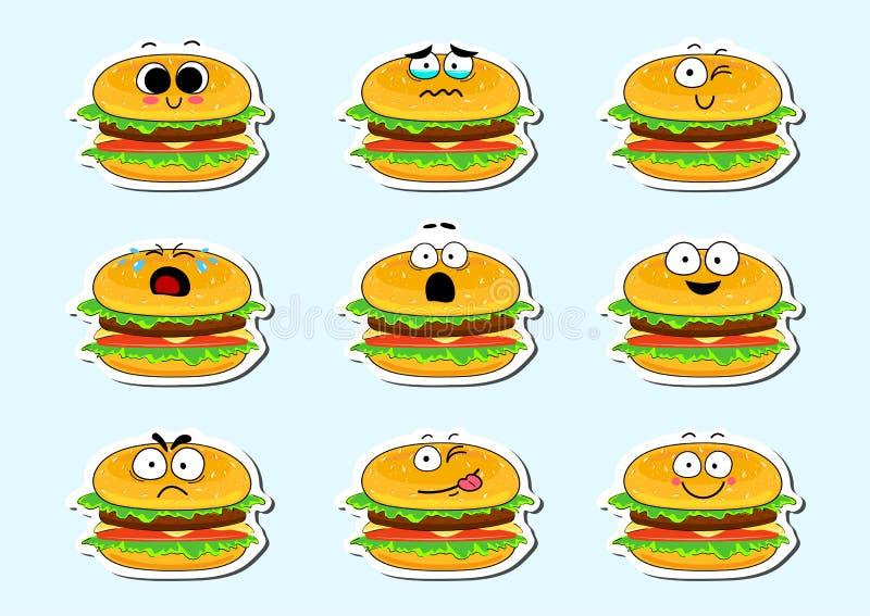 Autoadesivo sveglio del fronte del carattere dell'hamburger del fumetto illustrazione di stock
