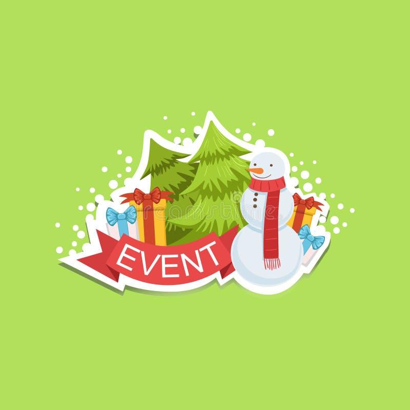 Autoadesivo sveglio dell'etichetta del modello di evento con il pupazzo di neve e gli abeti illustrazione di stock